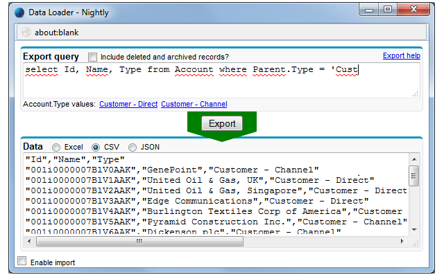 importing and exporting data in Salesforce